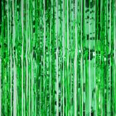 "Sparkling Metallic Foil Fringe Curtain 96"" - 12 Pieces - Green"
