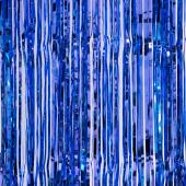"Decostar™ Sparkling Metallic Foil Fringe Curtain 96"" 12 Pieces - Royal Blue"