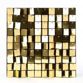 Decostar™ Shimmer Wall Panels w/ Black Backing & Square Sequins - 24 Tiles - Gold