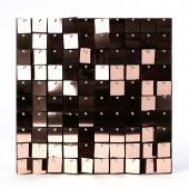 Decostar™ Shimmer Wall Panels w/ Black Backing & Square Sequins - 24 Tiles - Rose Gold