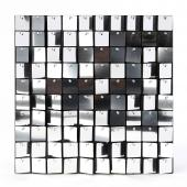 Decostar™ Shimmer Wall Panels w/ Black Backing & Square Sequins - 24 Tiles - Silver