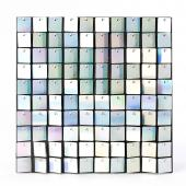 Decostar™ Shimmer Wall Panels w/ Black Backing & Square Sequins - 24 Tiles - White Iridescent