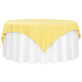 "72"" Square 200 GSM Polyester Tablecloth / Overlay - Canary Yellow"