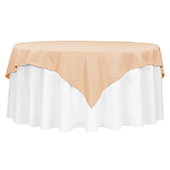 "72"" Square 200 GSM Polyester Tablecloth / Overlay - Champagne"