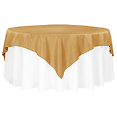"72"" Square 200 GSM Polyester Tablecloth / Overlay - Gold"