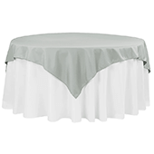 "72"" Square 200 GSM Polyester Tablecloth / Overlay - Gray/Silver"