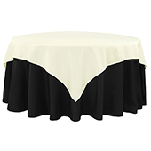 "72"" Square 200 GSM Polyester Tablecloth / Overlay - Ivory"