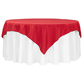 "72"" Square 200 GSM Polyester Tablecloth / Overlay - Red"