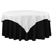 "72"" Square 200 GSM Polyester Tablecloth / Overlay - White"