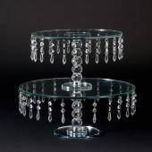 Decostar™ Crystal Beaded 2 Tier Clear Glass Cake Stand 15½