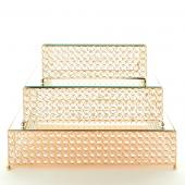 Decostar™ Crystal Square Cake Stand 3 Piece Set - Gold