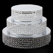 Decostar™ Crystal Round Cake Stand 3 Piece Set - Silver