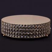 "Decostar™ Crystal Round Cake Stand 13¾"" - Gold"