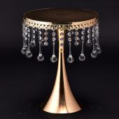 "Decostar™ Crystal Beaded Cake Stand & Centerpiece 16½"" - Gold"