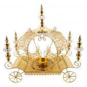 "Decostar™ Crystal Pumpkin Carriage Candle Holder 23½"" - Gold"