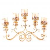 "5 Head Low Candelabra - 27"" x 20"" - Gold"