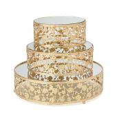 DECOSTAR™3 Piece Metal Cake Stand With Mirror - Gold