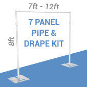 7-Panel Pipe and Drape Kit / Backdrop - 8 Feet Tall (Non-Adjustable)