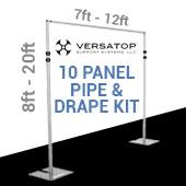 Versatop™ 2.0® - DELUXE-10 Panel Pipe and Drape Kit / Backdrop - 8-20 Feet Tall (Adjustable) Comes W/ 3 Piece Uprights for Maximum Height Adjustment