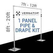 Versatop™ 2.0® - DELUXE-Single Panel Pipe and Drape Kit / Backdrop - 8-20 Feet Tall (Adjustable) Comes W/ 3 Piece Uprights for Maximum Height Adjustment