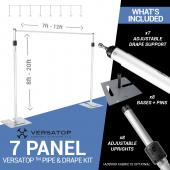 Versatop™ 2.0® - Deluxe 3 Piece 7-Panel Pipe and Drape Kit / Backdrop - 8-20 Feet Tall (Adjustable)