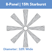 8-Panel Starburst 15ft Ceiling Draping Kit (32 Feet Wide)