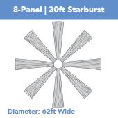 8-Panel Starburst 30ft Ceiling Draping Kit (62 Feet Wide)