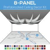 8 Panel Kit - Prefabricated Ceiling Drape Kit - 20ft Diameter - Select Drop, Fabric kind, and Color! Option for all Attachments!