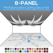 8 Panel Kit - Prefabricated Ceiling Drape Kit - 30ft Diameter - Select Drop, Fabric kind, and Color! Option for all Attachments!