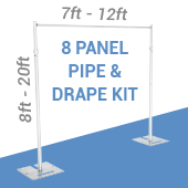 DELUXE-8 Panel Pipe and Drape Kit / Backdrop - 8-20 Feet Tall (Adjustable) Comes W/ 3 Piece Uprights for Maximum Height Adjustment