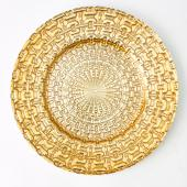 "Aztec Glass Charger Plate 13"" - 8 Plates - Gold"