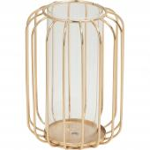 DECOSTAR™ 8in Glass Vase With Metal Frame - Gold