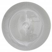 "Glass Charger Plate 13"" - Silver - 8 Pieces"