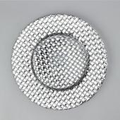"Decostar™ Glass Charger Plate 13""- 8 Pieces - Silver"