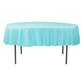 "90"" Round 200 GSM Polyester Tablecloth - Aqua Blue"