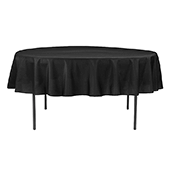 "90"" Round 200 GSM Polyester Tablecloth - Black"
