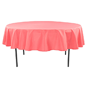 "90"" Round 200 GSM Polyester Tablecloth - Coral"