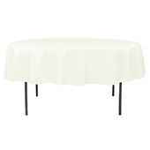 "90"" Round 200 GSM Polyester Tablecloth - Light Ivory/Off White"