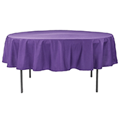 "90"" Round 200 GSM Polyester Tablecloth - Purple"