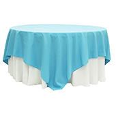 "90"" Square 200 GSM Polyester Tablecloth / Overlay - Aqua Blue"