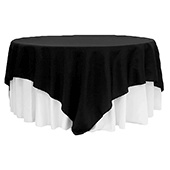 "90"" Square 200 GSM Polyester Tablecloth / Overlay - Black"