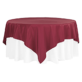 """90"""" Square 200 GSM Polyester Tablecloth / Overlay - Burgundy"""