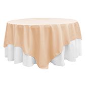 "90"" Square 200 GSM Polyester Tablecloth / Overlay - Champagne"
