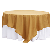 "90"" Square 200 GSM Polyester Tablecloth / Overlay - Gold"