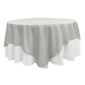 "90"" Square 200 GSM Polyester Tablecloth / Overlay - Gray/Silver"