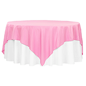 "90"" Square 200 GSM Polyester Tablecloth / Overlay - Pink"