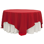 "90"" Square 200 GSM Polyester Tablecloth / Overlay - Red"