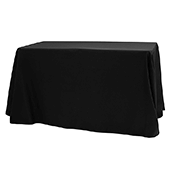 "90"" x 108"" Oblong 200 GSM Polyester Tablecloth - Black"