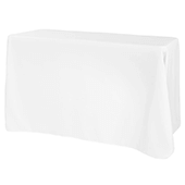 "90"" x 108"" Oblong 200 GSM Polyester Tablecloth - White"