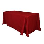 "90"" x 132"" Rectangular Oblong 200 GSM Polyester Tablecloth - Apple Red"